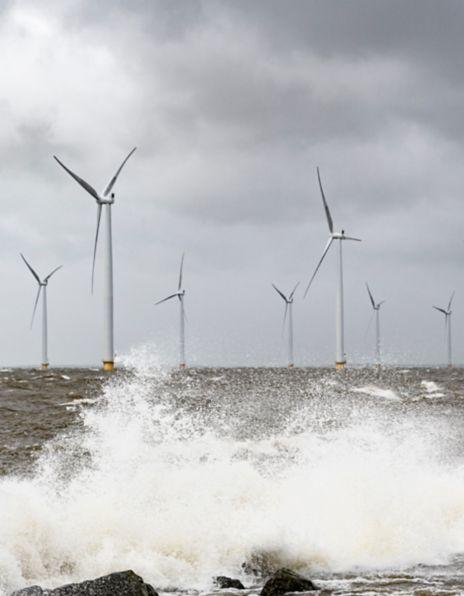 Bilde av vindmøller i havet
