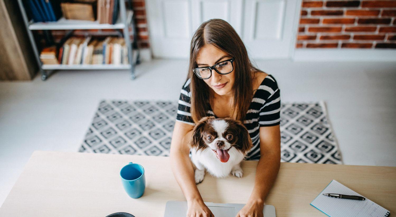 Dame på hjemmekontor med hund.