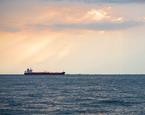 Lasteskip på havet i horisonten. Foto.