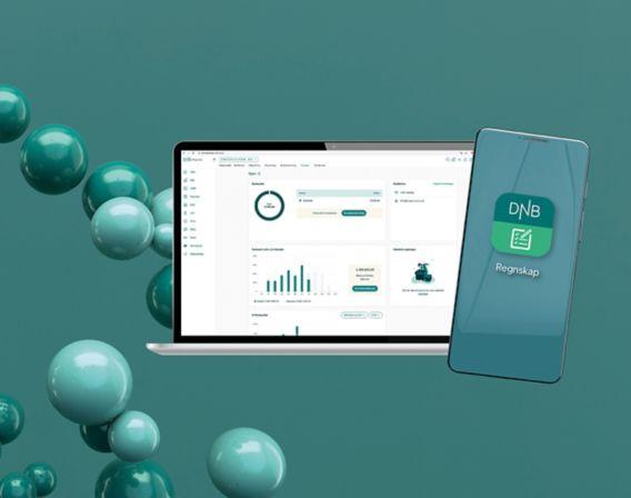 DNB Regnskap på en datamaskin og mobil