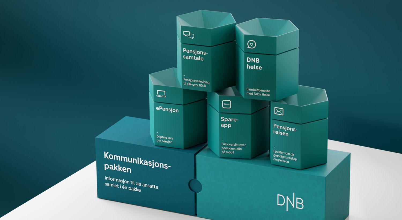 Illustrasjon av seks bokser med skrift som beskriver hva kommunikasjonspakken inneholder