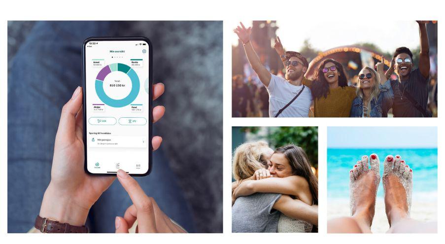 Kollasj med bilder. Bilde av Spare-appen, mennesker som er på festival, venner som klemmer, person som slapper av ved sjøen.