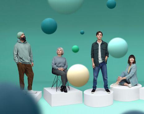 Bilder av mennesker med bobler som svever rundt. Lenker til Ditt økonomiske DNA