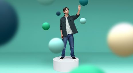 Mann med bobler rundt